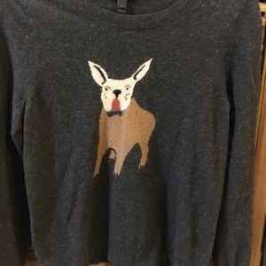 J Crew bulldog terrier grey wool sweater 🤩